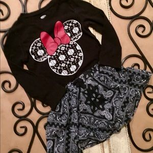 2t Minnie Mouse long sleeve with matching skirt